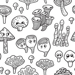 Seamless pattern with ink funny mushroom. Vegetables vector background