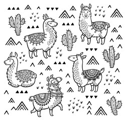 Decorative alpaca and cactuses collection. Hand-drawn contour lines and strokes.