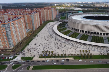 Krasnodar Stadium in the city of Krasnodar. The modern building