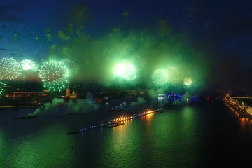 Salute Scarlet Sails. The festive salute is grandiose. Fireworks