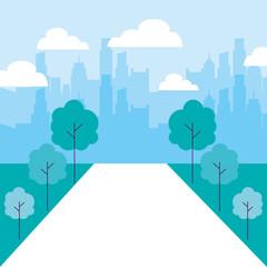 cityscape buildings park trees path
