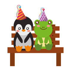 cute penguin and frog on bench happy birthday
