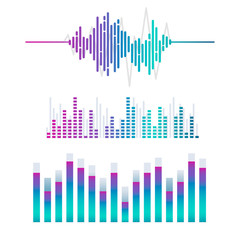 Sound wave equalizer vector design set