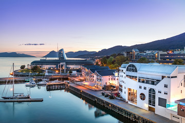 The Port of Molde at evening, Norway. Wall mural