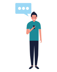 man using mobile speech bubble