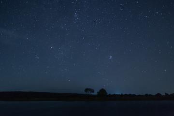 Starry sky, night, lake, autumn