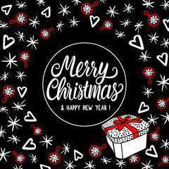 Merry Christmas greeting card with lettering. Abstract fashion style holiday design. Vector sketch illustration elements.