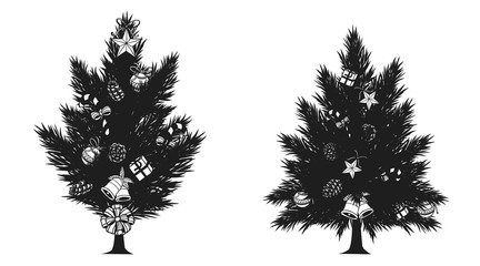 Pine tree with christmas ornament silhouette on white background.Black and white christmas tree vector by hand drawing