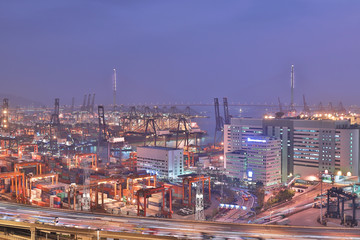 Kwai Tsing Container Terminals and highway in hK