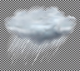 Cloud and Rain Drops on Transparent Background. Vector Illustration.