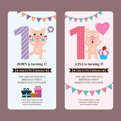 Birthday card invitation with cute pig