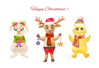 Cute Christmas or New Year characters isolated on white