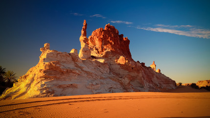 Sunrise at sandstone formation in the Sahara desert Ennedi, Chad
