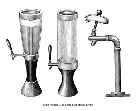Beer tower and beer dispenser vintage hand draw engraving style isolated on white background