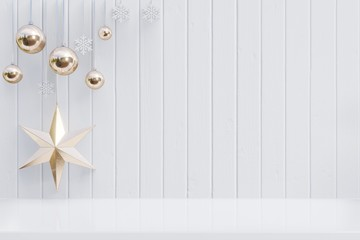 Christmas background with star for branches on wooden white background,3D rendering
