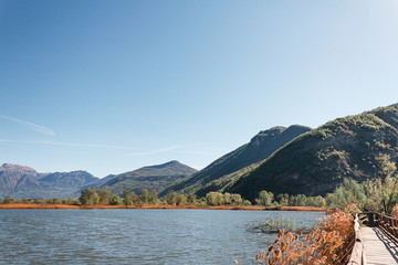 Landscape of Torbiere del Sebino Natural Reserve in Lombardy