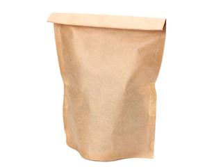 kraft paper bag isolated on white background