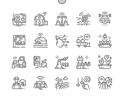 Smart Farm Well-crafted Pixel Perfect Vector Thin Line Icons 30 2x Grid for Web Graphics and Apps. Simple Minimal Pictogram
