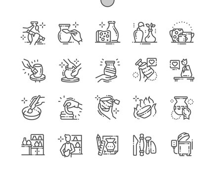 Pottery production Well-crafted Pixel Perfect Vector Thin Line Icons 30 2x Grid for Web Graphics and Apps. Simple Minimal Pictogram