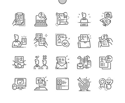 Job Resume Well-crafted Pixel Perfect Vector Thin Line Icons 30 2x Grid for Web Graphics and Apps. Simple Minimal Pictogram