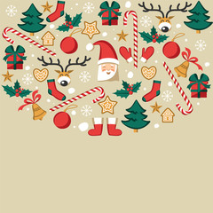Symbols of Christmas on a gray background. Flat illustrations for design.