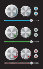 Regulators set Glowing metal knobs Set of switches Digital switch icon Digital controller Slider control Vector