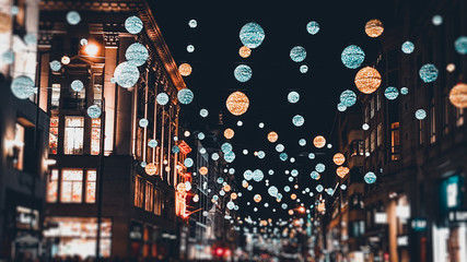 London Christmas Lights and decorations on Oxford St Fotomurales