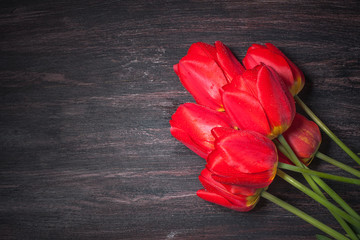 Red tulips on a dark wood background