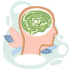 Human brain in head in form of maze labyrinth. Flat style. Cartoon vector illustration