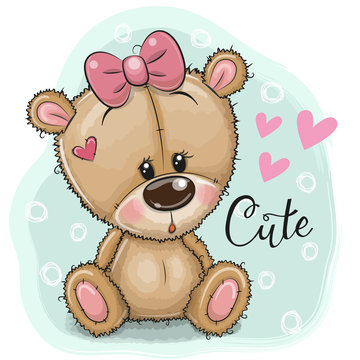 Greeting card Teddy Bear girl on a blue background