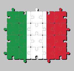 Jigsaw puzzle of Italy flag in green white and red color. Concept of Fulfillment or perfection.