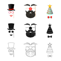 Vector illustration of party and birthday symbol. Collection of party and celebration vector icon for stock.