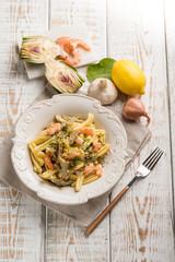 pasta with shrimp artichoke and lemon grated peel