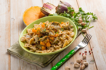 pasta with pumpkin artichoke and pisctachio nuts