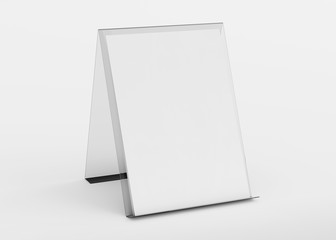 Brochure display stand mockup isolated on white 3d rendering