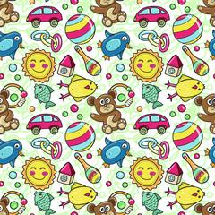 Kid toys seamless pattern, child game endless wallpaper, children games design
