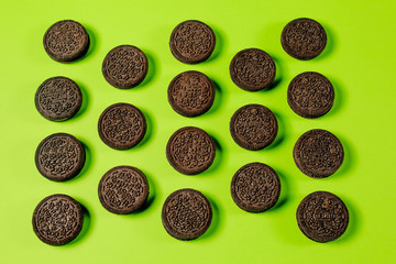 Oreo cookies, Chocolate cream filling sandwich cookies on a green background
