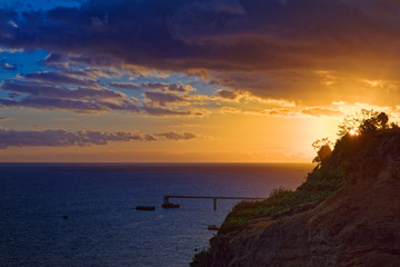 Colorful sunset on Portuguese island of Madeira