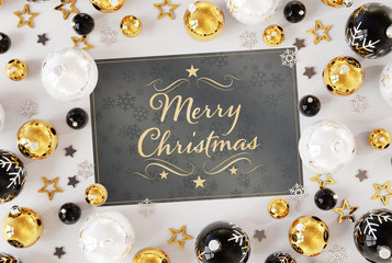Christmas card greetings with golden baubles 3D rendering
