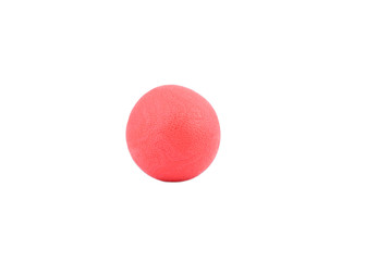 Red rubber ball on isolated white background.