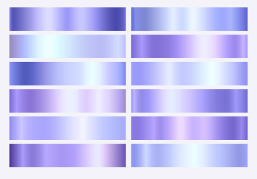 Violet, purple and blue foil texture gradation background set. Vector elegant, shiny and metalic gradient collection for border, frame, ribbon or label design.