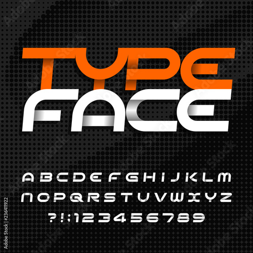 Abstract alphabet typeface  Futuristic uppercase letters and