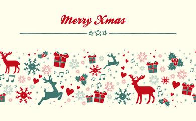 Merry Xmas Grußkarte mit weihnachtlichen Elementen