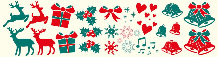 Weihnachtliche Elemente, Reentier, Glocken, Mistelzweig, Sterne, Schleife, Herz
