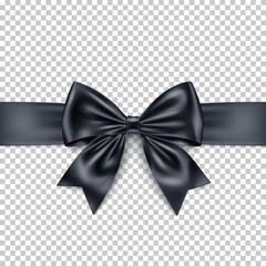 Realistic black gift bow and ribbon isolated on transparent background.