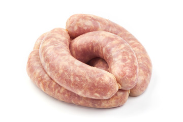 Italian sausages, Raw Salsiccia Sausages, isolated on a white background. Close-up