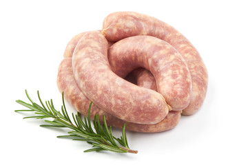 Spiral Sausages, Raw Munich Sausages with herbs, isolated on a white background. Close-up