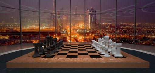 Chessboard On The Table in Dubai