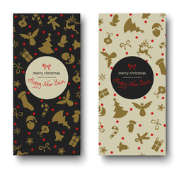 Set of Merry Christmas and Happy New Year greeting cards with holiday pattern.
