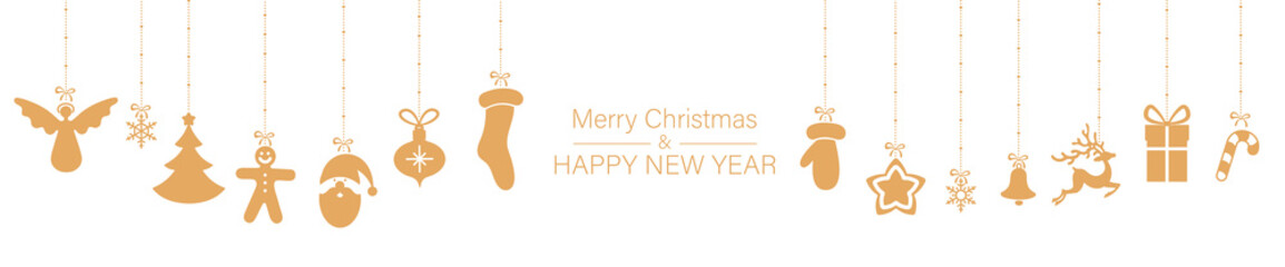 White Christmas and New Year banner with orange festive decorations.